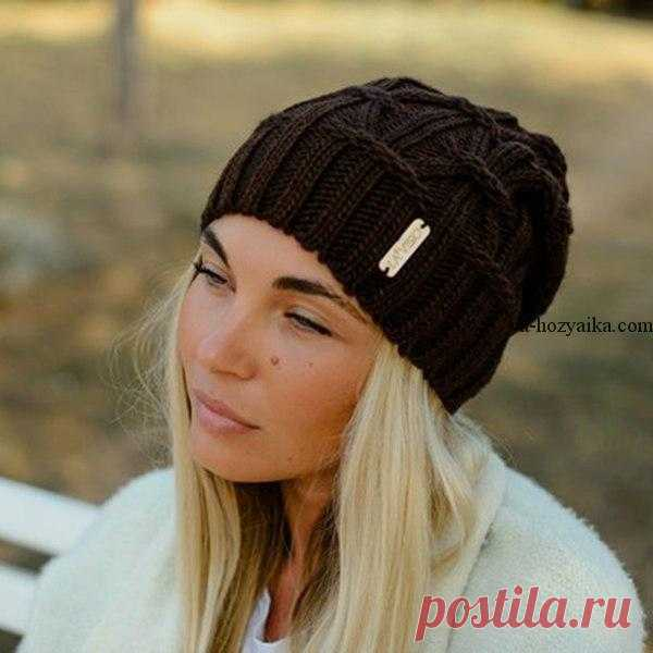 шапка бини спицами схема вязаная шапка модная 2018 с косами шапка