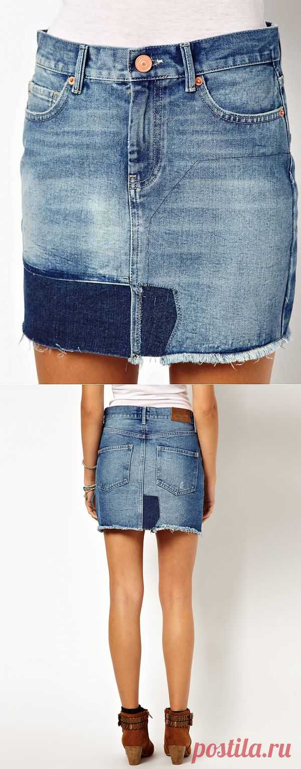 Джинсовая юбка с заплатками River Island / Юбки и их переделки / Модный сайт о стильной переделке одежды и интерьера