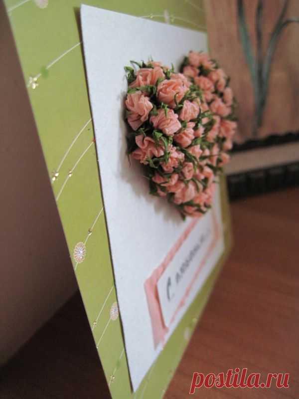Как сделать цветы из гофрированной бумаги на открытке