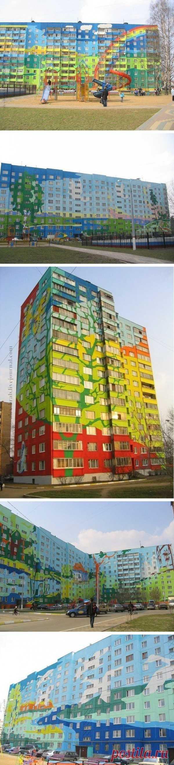 Картины на многоэтажных домах. Раменское, Россия