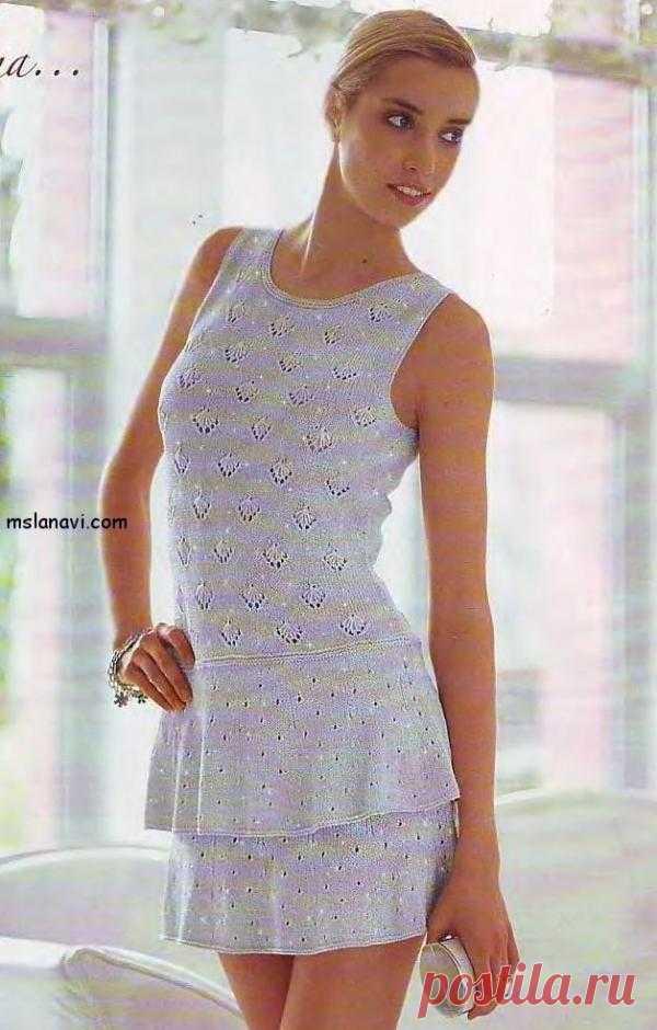 Ажурное летнее платье с пелериной | Вяжем с Ланой