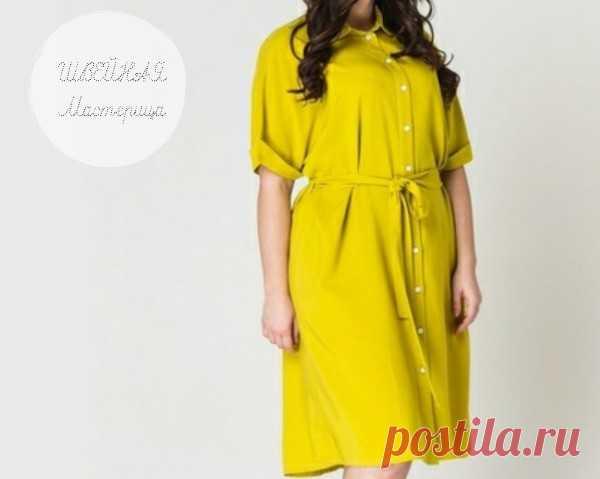 Женское платье-рубашка  Размеры выкройки: 44-52 европейские Источник указан внутри файла