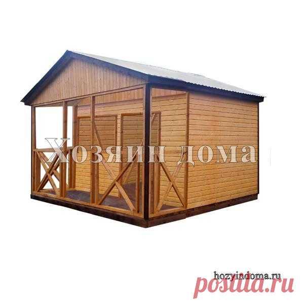 Летняя кухня 3х3 метра с двухскатной крышей. Имеет внутреннюю перегородку. #летняякухня #хозблок