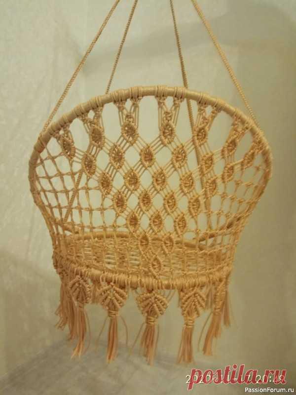 Круглые садовые плетеные кресло-качели в технике макраме. Видео МК | Макраме и вязание на вилке Для работы использован шнур полипропиленовый с сердечником и без, диаметром 4 мм. Цвет