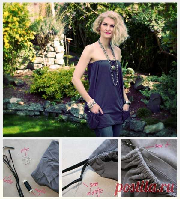 Мальнькое платье из большой футболки / Футболки DIY / Модный сайт о стильной переделке одежды и интерьера