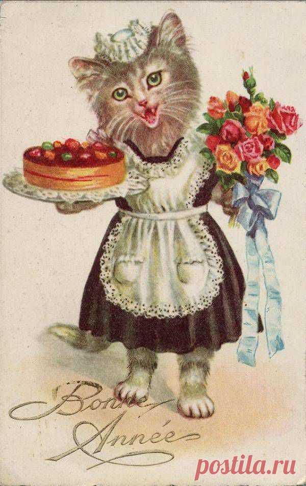 Добрый, старинная котенок открытка