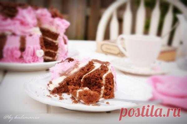 """- Шоколадный торт """"Букет роз"""" с творожным кремом. Автор: kulimania"""