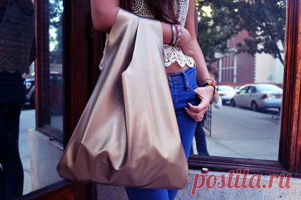 Кожаный пакет - пятиминутка (DIY) / Сумки, клатчи, чемоданы / Модный сайт о стильной переделке одежды и интерьера