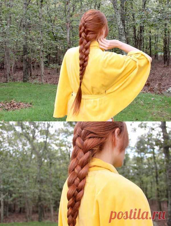 Французская коса из четырех прядей