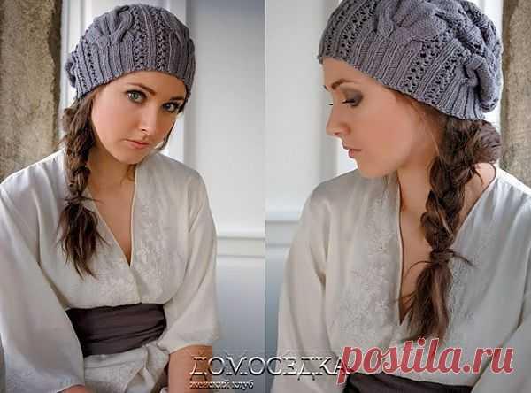 Красивая шапочка спицами | ДОМОСЕДКА