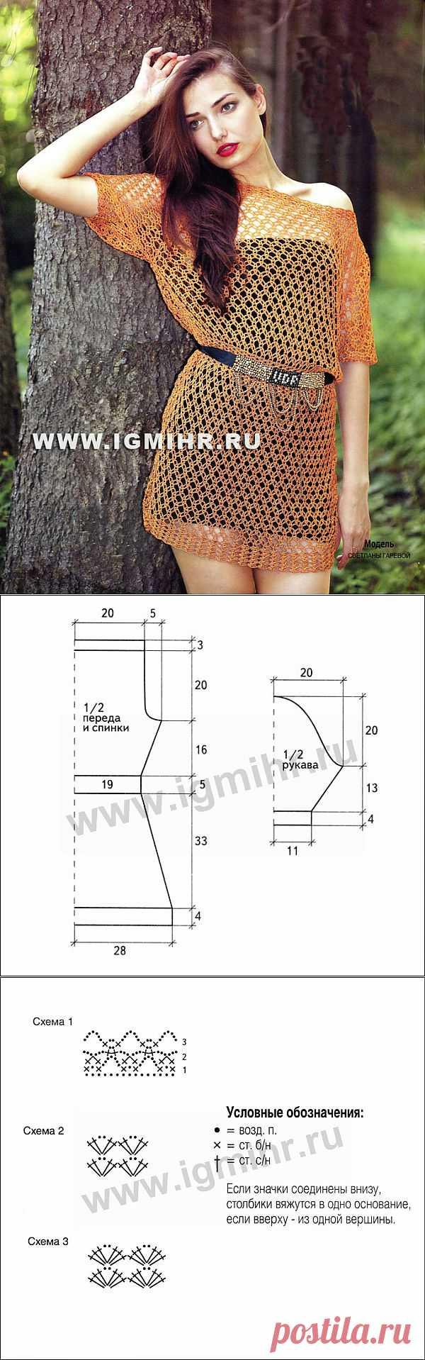 Тренд летнего сезона – прозрачная сетка. Ажурное платье цвета бронзы. Крючок | Золотые Руки