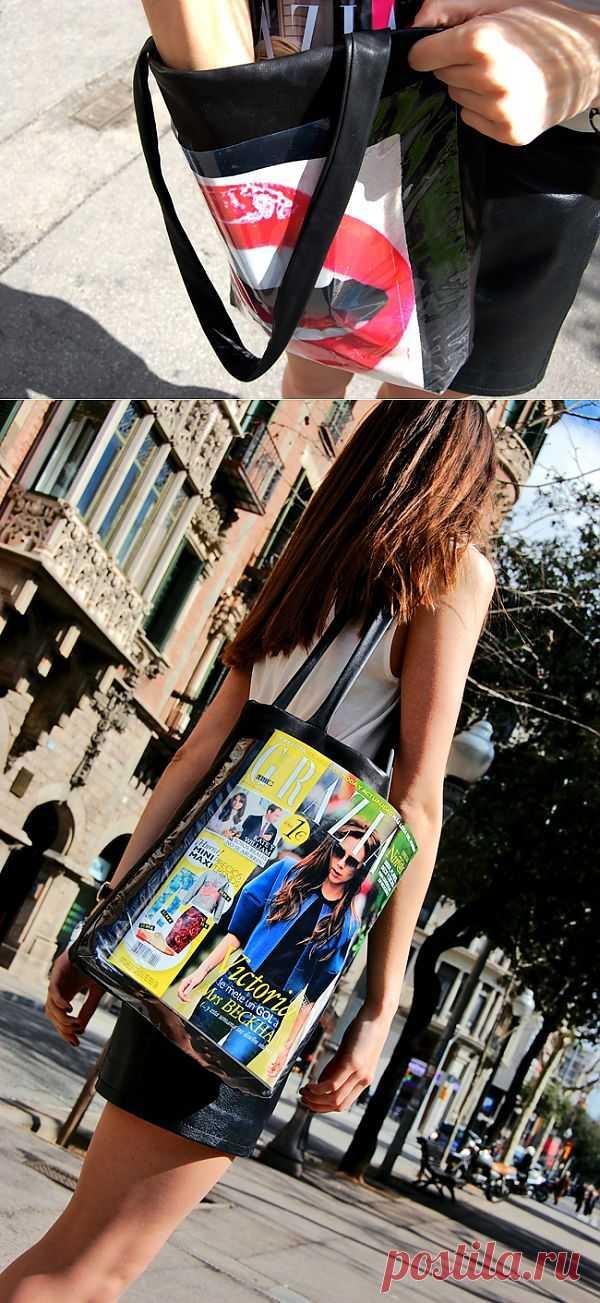 Сумка с прозрачным карманом (DIY, видео) / Простые выкройки / Модный сайт о стильной переделке одежды и интерьера