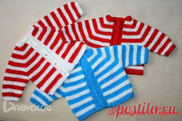 Вязание спицами для детей. Реглан, выполненный от горловины к низу изделия