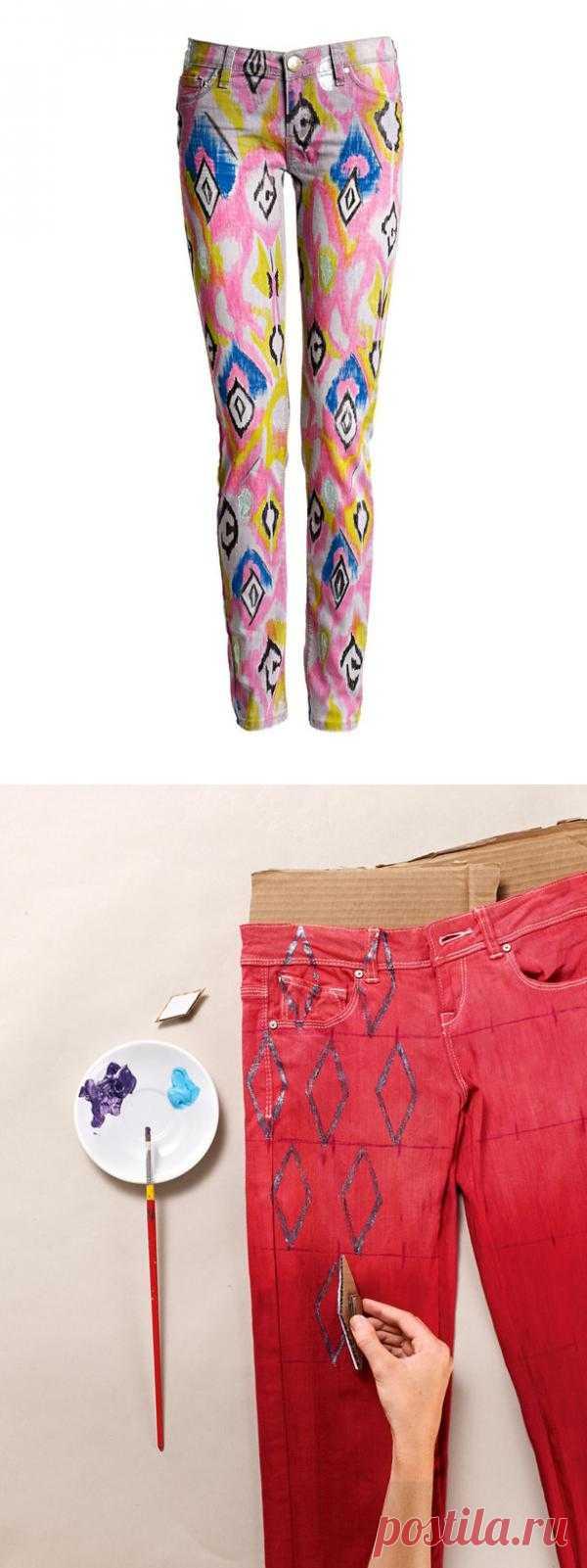 """""""Икат"""" на джинсах, ковровый рисунок или треш? (Diy) / Переделка джинсов / Модный сайт о стильной переделке одежды и интерьера"""