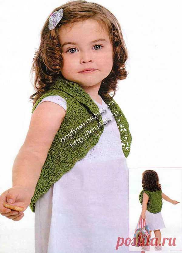 Размер болеро: на 2-3 года. Для вязания болеро вам потребуется: 100 г пряжи (100% акрил) зеленого цвета. Крючок № 3.
