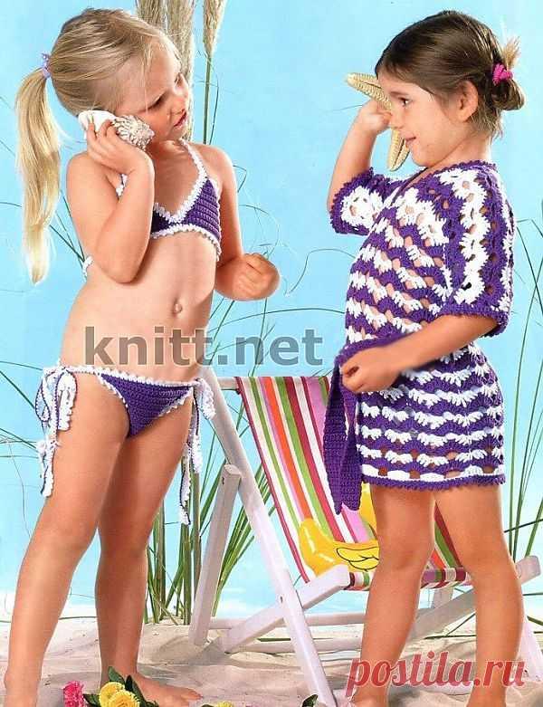 Купальник и туника для малышки. Пляжный комплект для девочки связан крючком - туника выполнена белыми и фиолетовыми нитками отлично подходит к купальнику. Маленькая модница останется довольна.