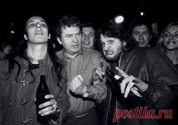 Vladimir Zhirinovsky at opening of rock club in Moscow, 1992.