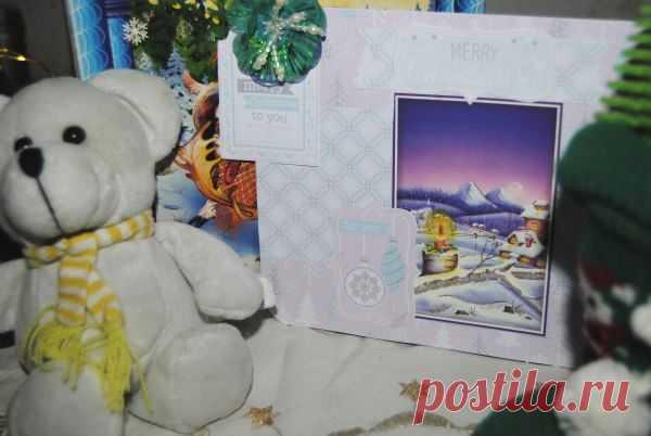 Новогодняя открытка в пастельных тонах своими руками | Рукоделие в стиле шебби шик