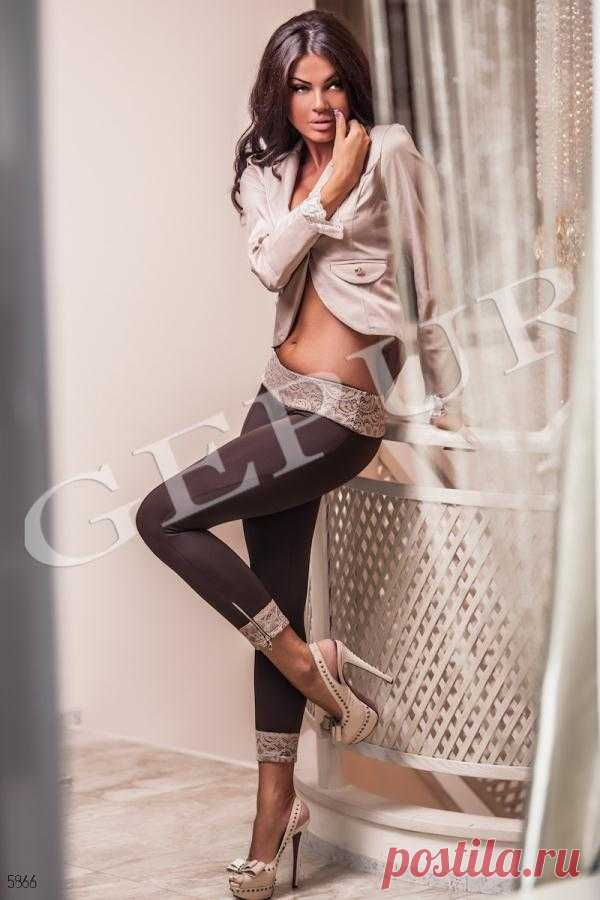 Gepur   Leggings with snakes an art. 5866 Price from the producer, the authentic description, responses, a photo, color: coffee, lace-bezh