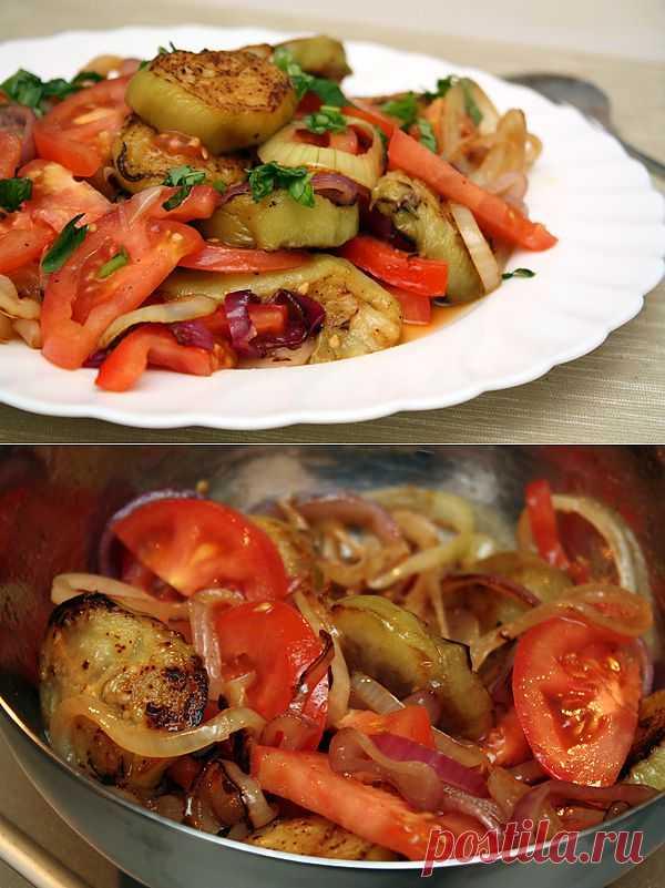 Разнообразные овощи являются незаменимой составляющей армянской кухни. Салат из баклажанов и помидоров оказался настолько вкусным, что захотелось готовить его еще и еще. К счастью, салат делается совершенно несложно, но очень быстро съедается, так что делайте выводы :).