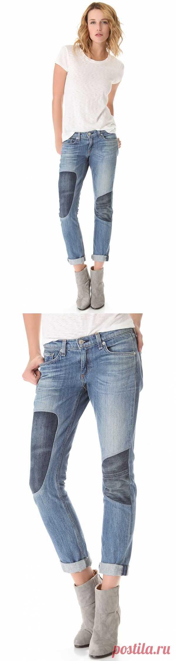Джинсы с оригинальными вставками на коленях / Джинсы / Модный сайт о стильной переделке одежды и интерьера