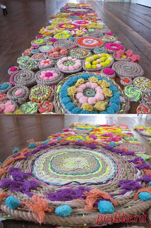 Плетеный коврик из кругов | РУКОДЕЛИЕ