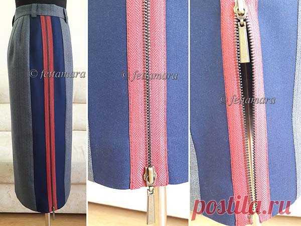[Шитье] Оригинальная юбка-карандаш с лампасом на молнии. Мастер-класс