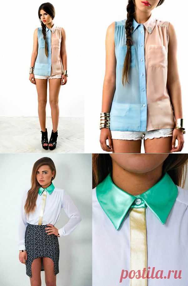 Двухцветная блузка с хамса амулетами / Блузки / Модный сайт о стильной переделке одежды и интерьера