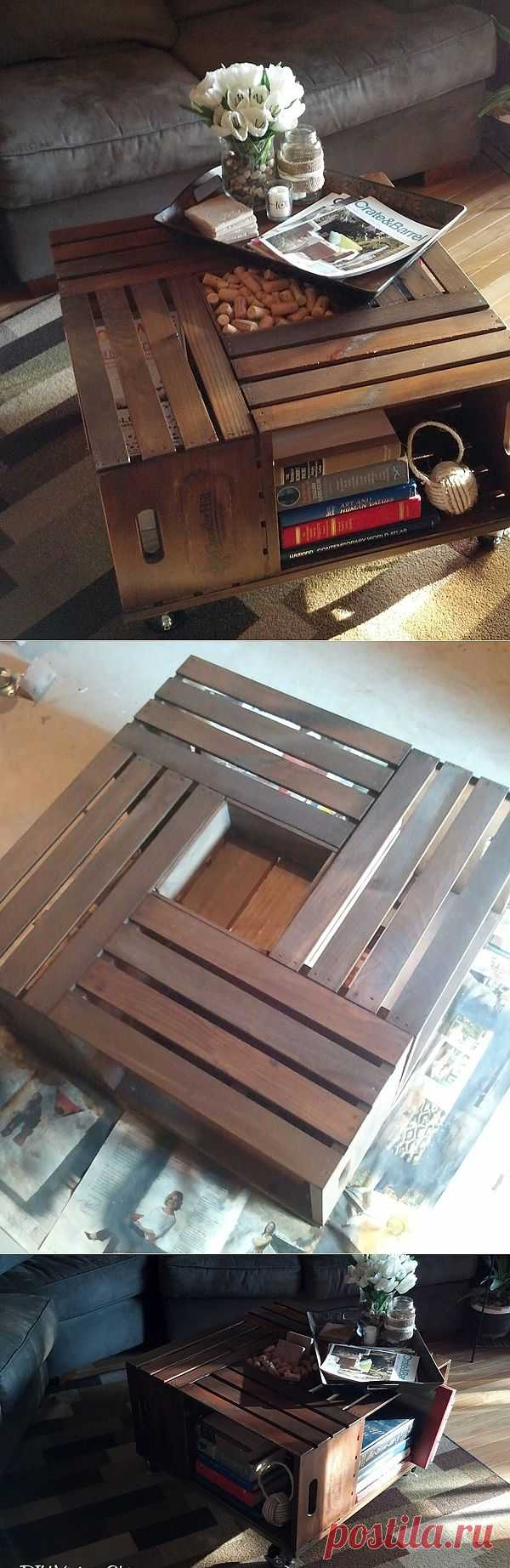 Винтажный журнальный столик из деревянных ящиков