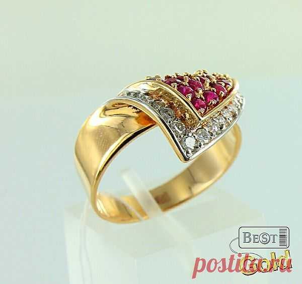 Золотое кольцо с рубинами и бриллиантами - 33 089 руб
