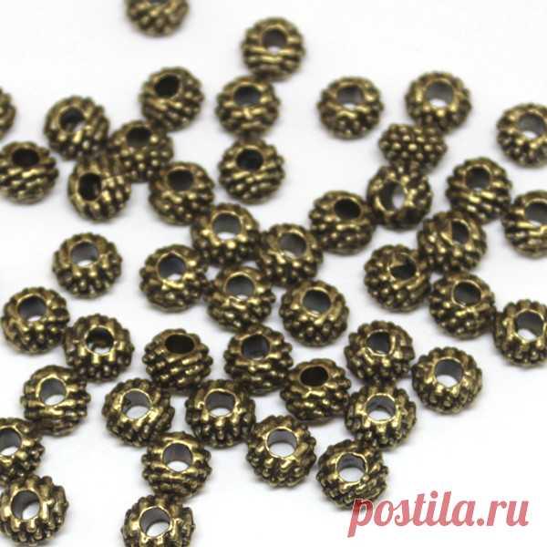 5р-шт-7мм--Бусины металл рондели Шишечки античная бронза