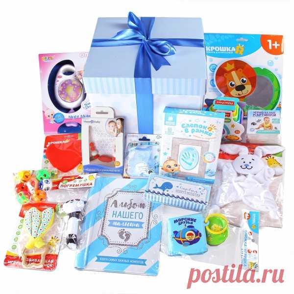 Набор из 15-ти подарков для новорожденного мальчика lollybox newborn MAXI boy