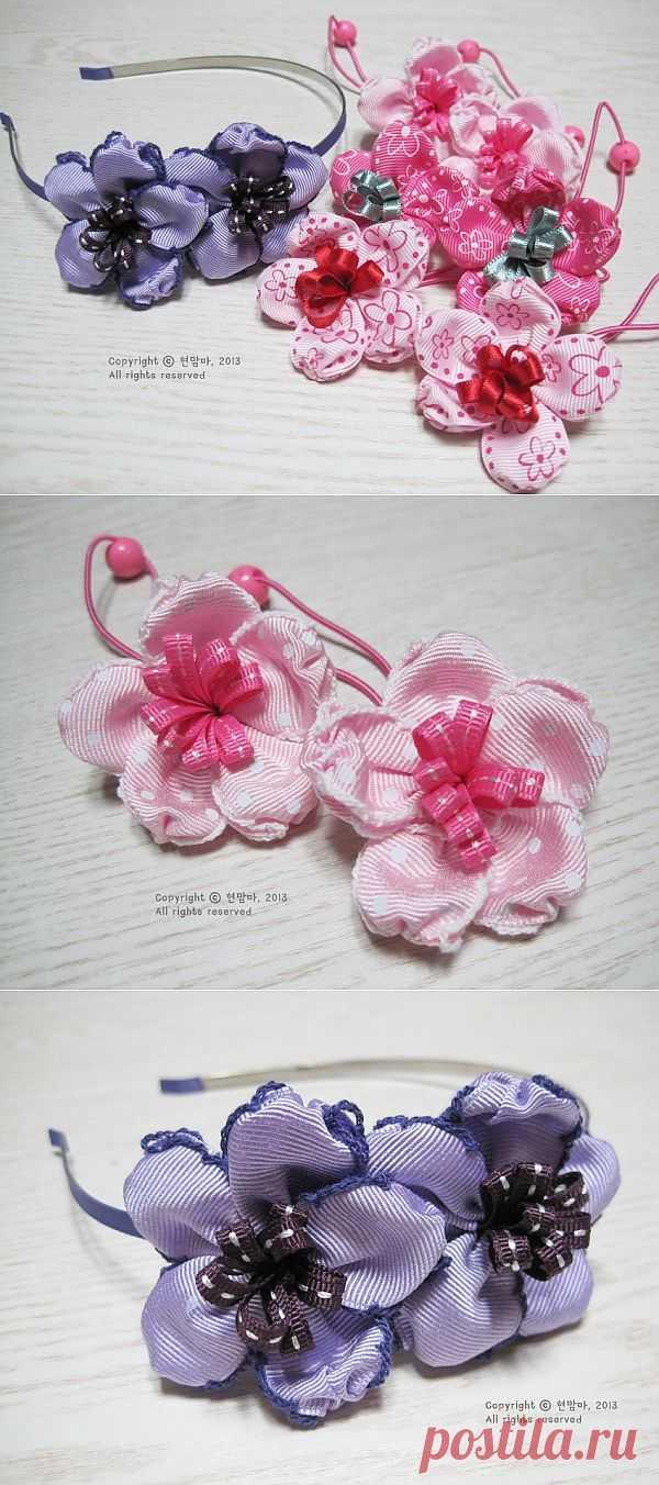 Цветы в украшениях для волос