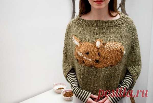 Интересный свитер-накидка с Бемби Модная одежда и дизайн интерьера своими руками