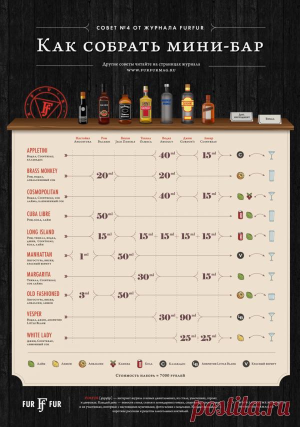 ИНФОГРАФИКА: Что должно входить в домашний мини-бар