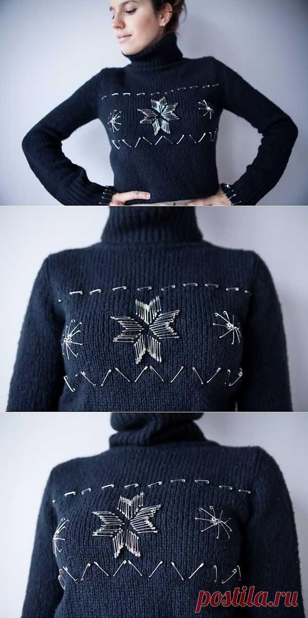 Декор свитера булавками (DIY) / Свитер / Модный сайт о стильной переделке одежды и интерьера