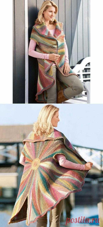 Блоги@Mail.Ru: Радужная накидка - жилет - пончо спицами