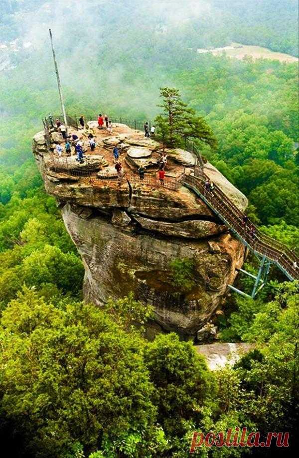 Chimney Rock Park  открылся для посетителей как частный парк в 1902 г. Самая главная достопримечательность парка Chimney Rock (Скала-домоход) - скала высотой в 96 метров, откуда видно на 120 км. Чимни Рок Северная Каролина, США