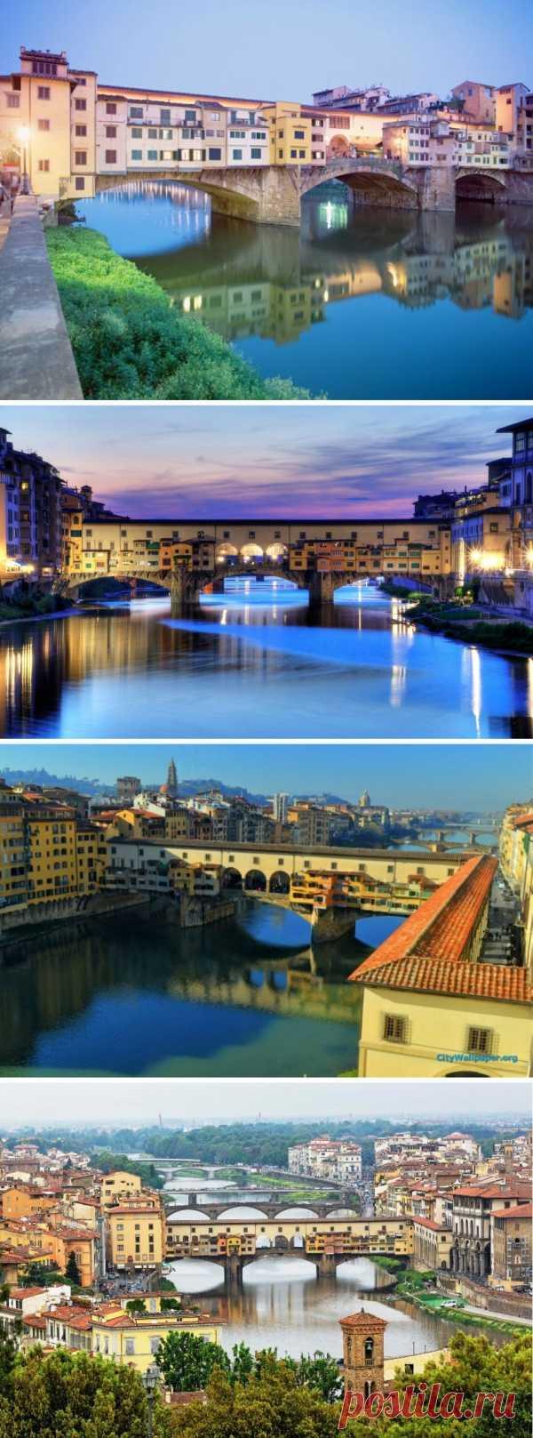 Вы видели мост на котором стоят жилые дома? Флоренция, Италия