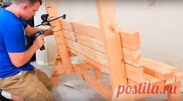 Делаем скамейку своими руками  Конструкция скамейки довольно простая и под силу вполне всем желающим иметь у себя на участке новенькую скамеечку. Также мастером представлены все необходимые чертежи и пошаговые фото, следуя которым…