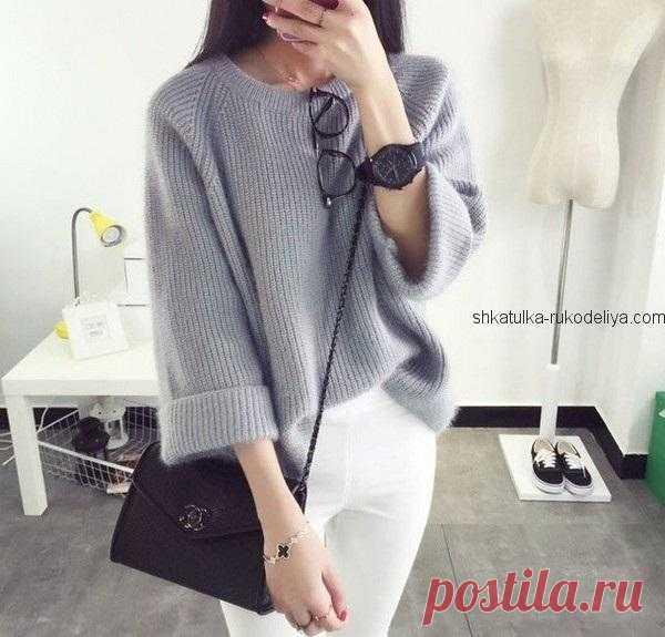 Стильный пуловер Стильный пуловер из мохера спицами. Пуловер жемчужной резинкой спицами