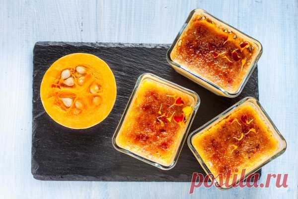 The recipe of a pumpkin flan with ricotta