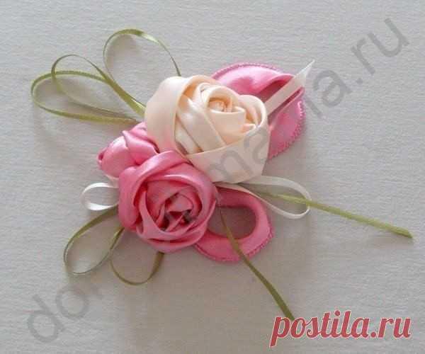 Атласные розы своими руками