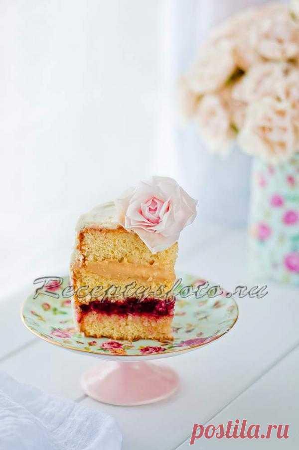 Бисквитный торт с кремом из Дульсе де Лече, С клубничным джемом и кремом Шантийи – рецепт с фото - Рецепты с фото