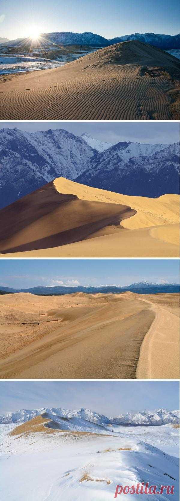 Забайкальская Сахара. Необыкновенное место, расположенное в Забайкалье, напоминает настоящую пустыню. Это Чарские пески – место, подобное которому больше не найти. Это настоящая пустыня, в которой с раскаленным песком соседствует холодная наледь. Пески окружают горы покрытые снегом круглый год, а пески уходят в болота и озера. Каларский район, Забайкальский край