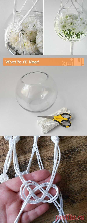 Макраме: подвесная ваза вместо кашпо (Diy) / Цветы / Модный сайт о стильной переделке одежды и интерьера
