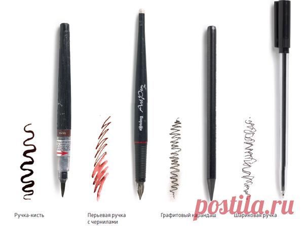 Шариковые ручки Подоходят для быстрых спонтанных зарисовок. Выбор диаметра стержня и цвета чернил ограничен, но ручки позволяют прорисовывать четкие контуры, а еще ими хорошо делать схематические наброски.