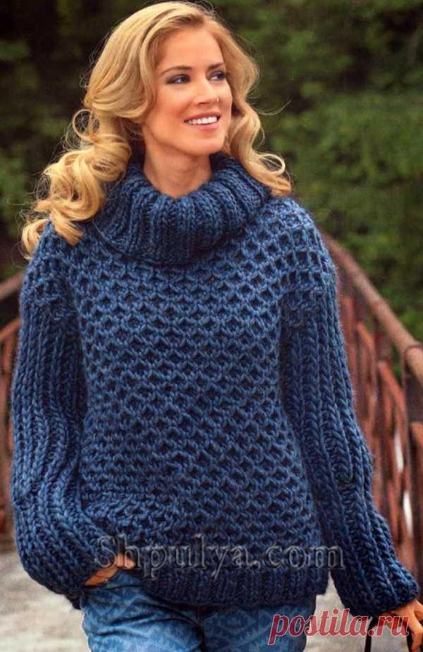 Синий пуловер с узором из сот - SHPULYA.com