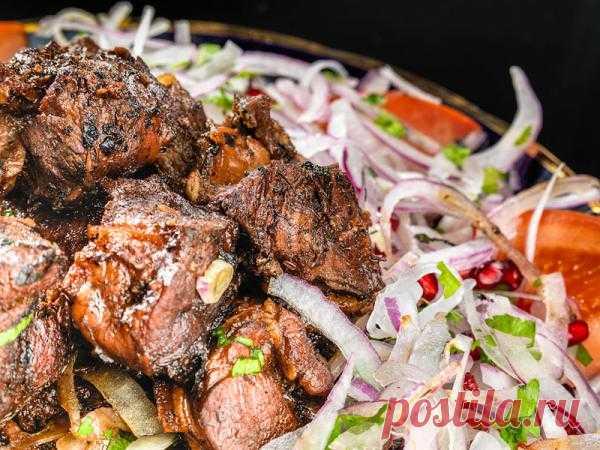 Shish kebab in a cauldron