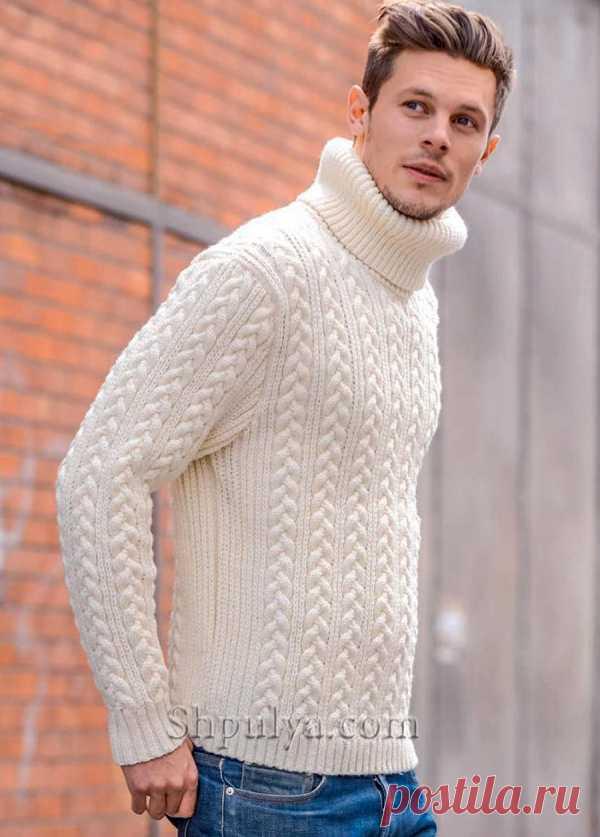 Мужской свитер с узором из кос